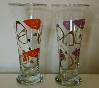 2 X 1960's Vintage Drinking Glasses Reto Kitsch Large Vase Shaped Cocktail Party • 3.50£
