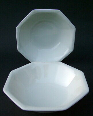TWO Johnson Brothers Heritage White Pattern Cereal Bowls 16.5cm Dia Look In VGC • 7.95£
