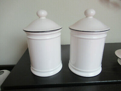 Hornsea Pottery Unusual Plain Storage Jar Cannisters X2 White Acanthus Shape. • 3.99£