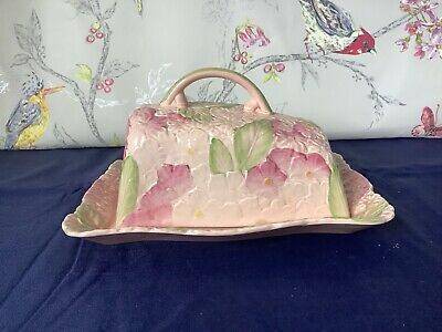 Absolutely Stunning Antique  Butter/cheese Dish Crown Ducal Pink Hydrangea • 44.95£