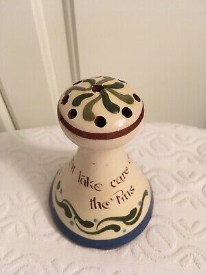Vintage Torquay Pottery Hatpin Holder With Motto • 7£