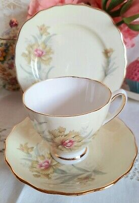 Vintage China Tea Cup Saucer Plate Trio Colclough Pale Yellow Pink Carnation • 4.50£