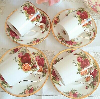 Royal Albert Old Country Roses 4 Coffee Cans Mugs & Saucers 1st Quality VGC • 37£