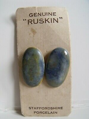 Genuine Ruskin Arts & Crafts Carded Set Of Two Oval Porcelain Glazed Buttons  • 5.50£