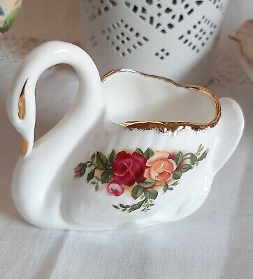 Royal Albert Old Country Roses Ornamental Little China Swan Posy Vase • 2.70£
