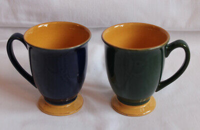 Denby Pottery Spice Mugs X 2 Good Condition - Blue, Green, Orange Colours • 8£