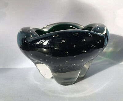 Whitefriars Green Molar Tooth Control Bubble Lead Art Glass Ashtray • 14.99£