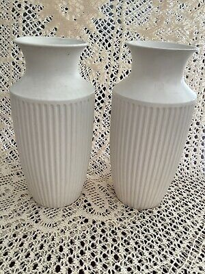 Pair WHITE WEDDING CLASSIC MANTLE VASES 837 JOHN  CLAPPISON • 18£