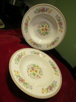 Two Vitreous John Maddock & Sons Ltd Soup Plates/Bowls - Spring Flower Pattern • 4£