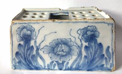 Antique 18th Century English Delftware Flower Brick C1750: Probably Liverpool • 85£