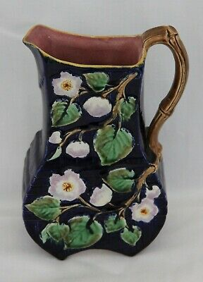 Delightful Antique Majolica Flat Sided Pitcher C.1890 • 35£