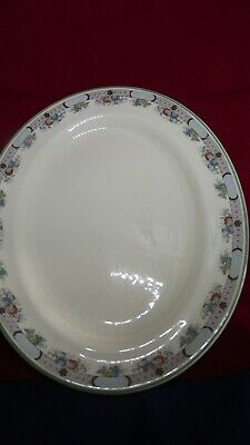 Vintage Furnivals 14  Oval Plate With Floral Transfer/Handpainted Edge, Used • 0.99£