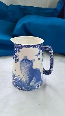 Staffordshire Pottery Blue White Floral Chintz Calico Tabby Cat Milk Jug • 6£