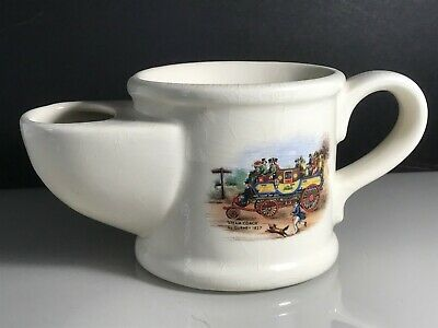 Vintage Wade Pottery White Colour Ceramic Shaving Mug With Steam Coach Design • 9.99£