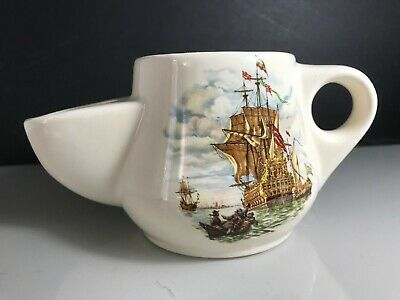 Royal Victoria Wade Pottery White Ceramic Shaving Mug With Galleon War Ship • 9.99£