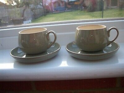 Denby Cups And Saucers Brown X 2 • 3.99£