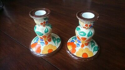 Pair Of Clarice Cliff Style Candlestick Holders • 12.99£