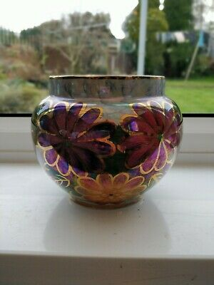 Oldcourt Ware Pottery Floral Flower Bowl Vase Iridescent • 5£