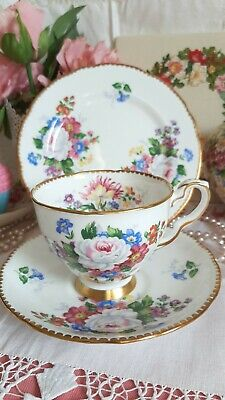 Royal Stafford Vintage China Tea Cup Saucer Plate Trio Floral Scalloped Gold • 11.50£