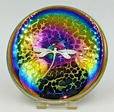 Neo Art Glass Iridescent Rainbow Disc Paperweight Silver Dragonfly By K.Heaton • 12.50£