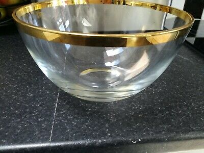 Gold Coloured Rim Glass Fruit Bowl • 4.99£