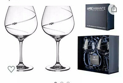 Gin Glasses With Swarowski Crystal Valentines Gift • 9£