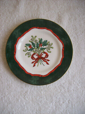 set Of Six Royal Worcester Holly Ribbons Design( Green) Side Plates • 12.50£