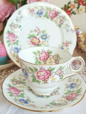 Royal Stafford 'Rochester' Floral Vintage China Tea Cup Saucer Plate Trio Set • 7.99£