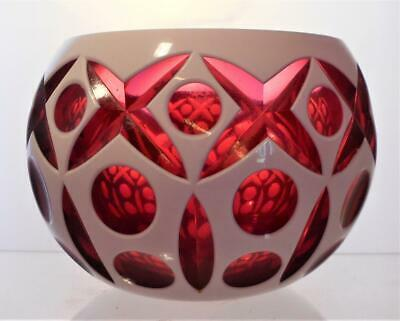 Vintage Bohemian Crystal Bowl Layered Flashed White Cut To Cranberry Great Gift • 29.99£
