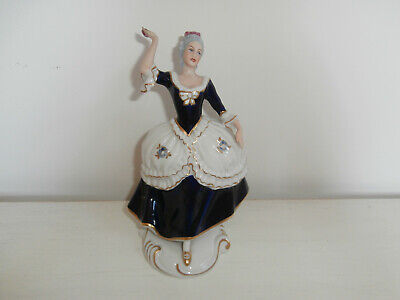 Royal Dux Bohemian Figurine Aristocratic Lady Blue And White Glazed Porcelain • 125£