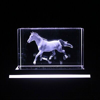 Crystal Galloping Horse Block Etched Glass Paperweight 3D BNIB Gift Boxed Birthd • 7.50£