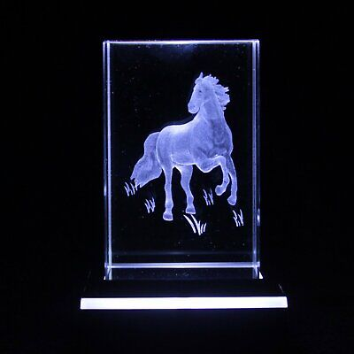 Crystal Standing Horse Block Etched Glass Paperweight 3D BN Gift Boxed Birthday • 7.50£