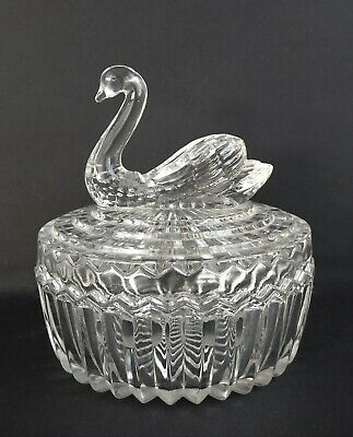 Cut Glass Trinket Bon-bon Dish Bowl With Swan Lid • 1.99£