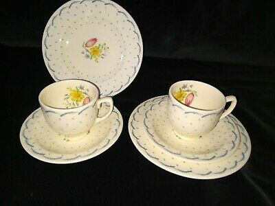 Susie Cooper Printemps Coffee Cups And Saucers And Biscuit Plates. • 18£