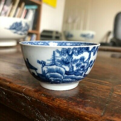 18th Century First Period Worcester English Porcelain Blue White Tea Bowl • 49£