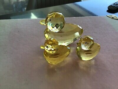 Oleg Cassini Set Of 3 Yellow Ducks Cut Crystal Glass Signed On Base Vgc • 12£