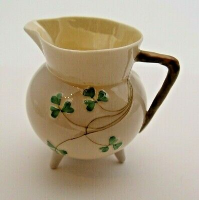 Antique Irish Belleek Shamrock Jug With Black Backstamp - Perfect • 14.99£