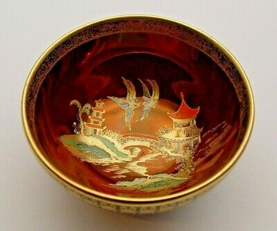 Gilded Carlton Ware Rouge Royale Bowl - Oriental Design - Perfect • 14.99£