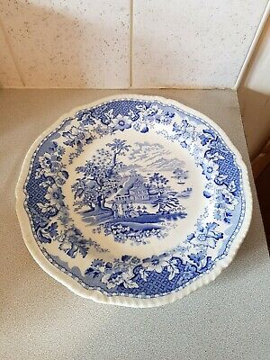 Seaforth Pottery Blue And  White  Dinner Plate  Country Estate  Scene • 2£