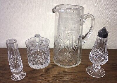 5Pieces Of Vintage Cut Glass:Large Jug Sugar Sifter Marmalade/Jam Pot Small Vase • 7.99£