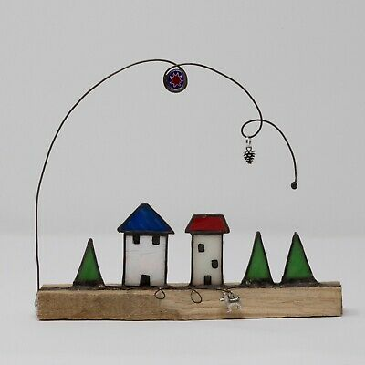 Stained Glass Houses With Dog And Trees Sculpture • 45£