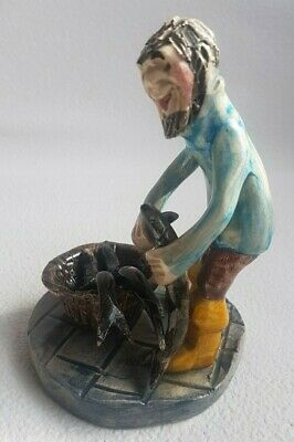 Will Alan Young Runnaford Studio Pottery Figure.Fisherman Cutting Fish Unmarked • 26£