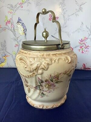 Rare Taylor & Tuncliffe Antique Biscuit Barrel Blush Ivory Floral Design C1880 • 44.95£