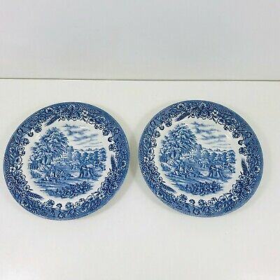 Pair Of Vintage Churchill Side Plates Blue And White • 6.50£
