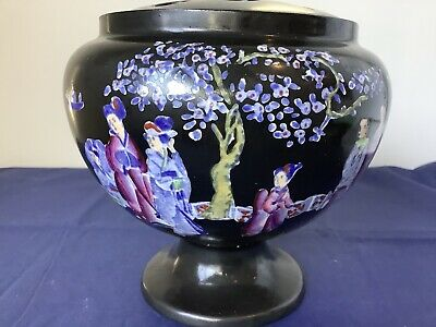 Antique Rose Bowl With Enamelled Oriental Scene C1910 • 34.95£