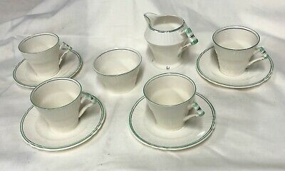 Myott & Sons Vintage Coffee/Tea Set - Soft White And Green Highlights • 35£