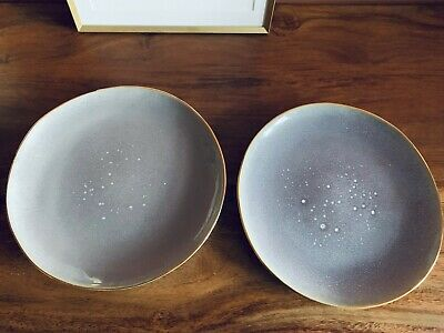 2 X Anthropologie Lilac Side Plates - Stoneware With Gold Rim • 22.99£