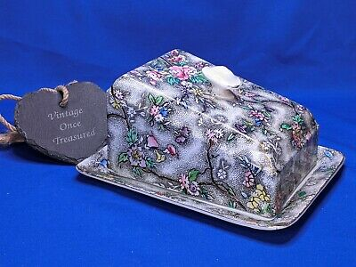 Antique S Hancock & Sons Corona Ware * Rosetta Chintz Cheese Dish & Cover (AF) • 16.25£