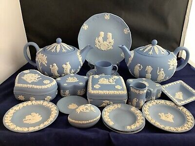 Choice Of Wedgwood Blue Jasper Ware Plate, Trinket Boxes, Ashtray, Teapots Etc • 6£