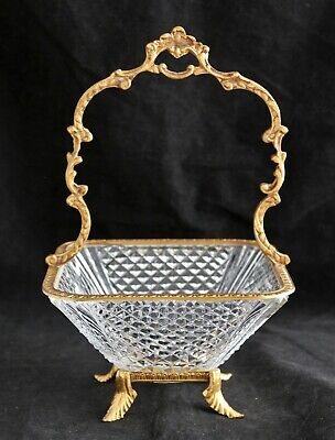 Antique French Crystal Cut Glass Bronze Ormolu Mounted BASKET BOWL • 167.59£